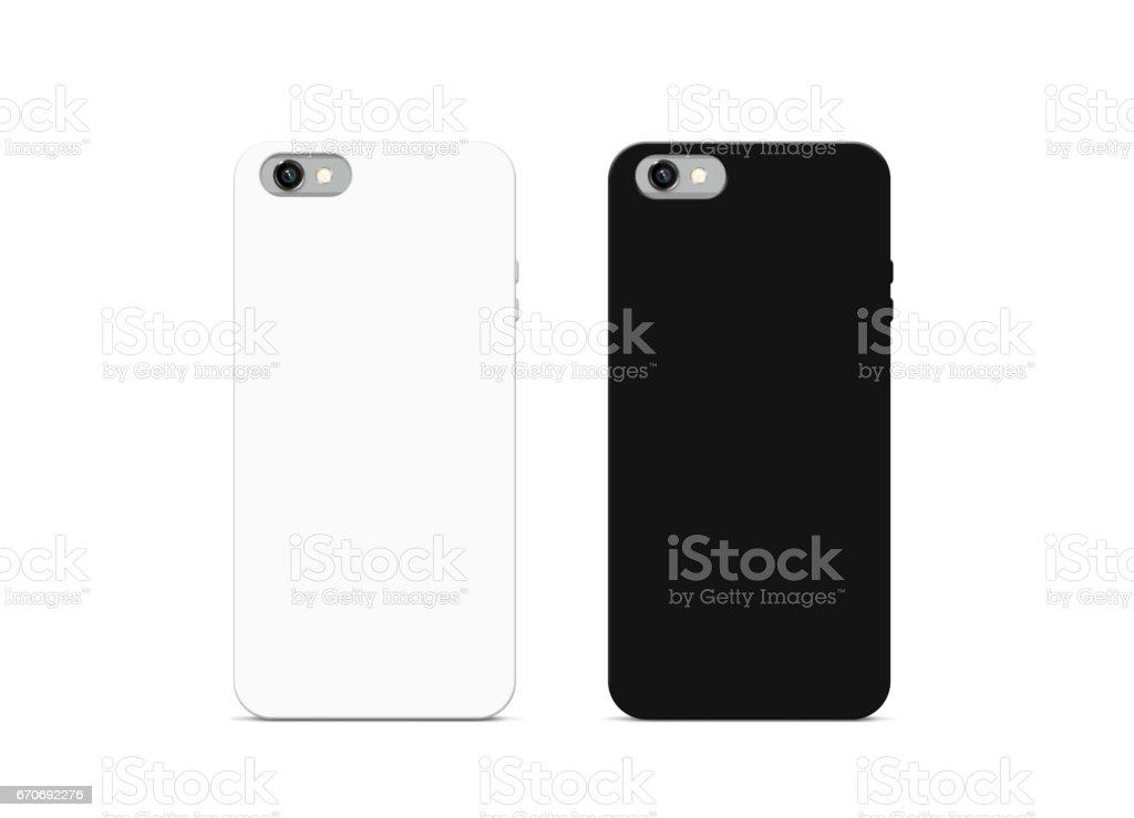 Blank black and white phone case mock up, isolated stock photo