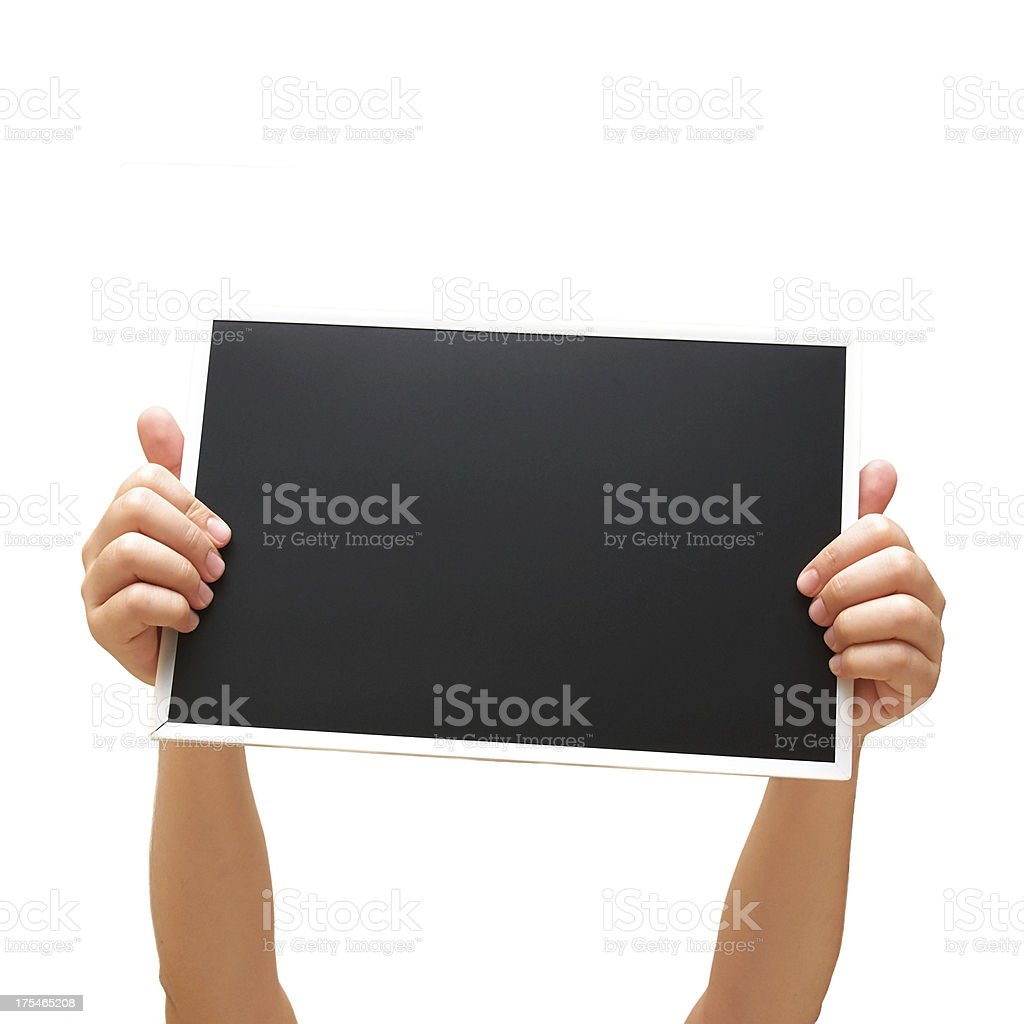 blank black board on hand royalty-free stock photo
