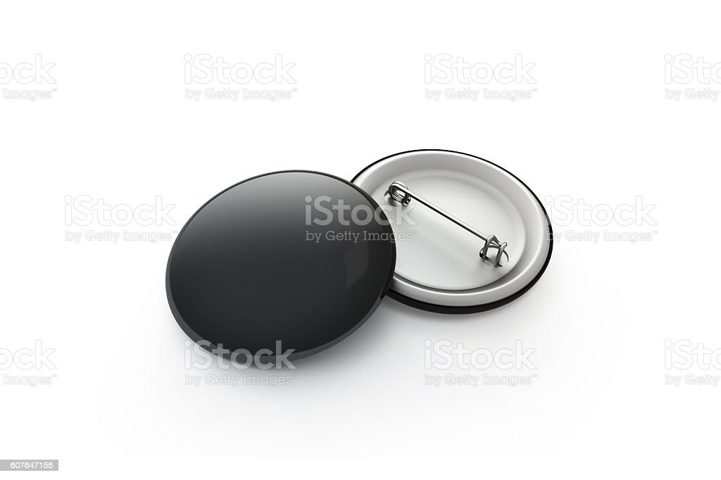 Blank black button badge stack mockup, isolated, clipping path, stock photo