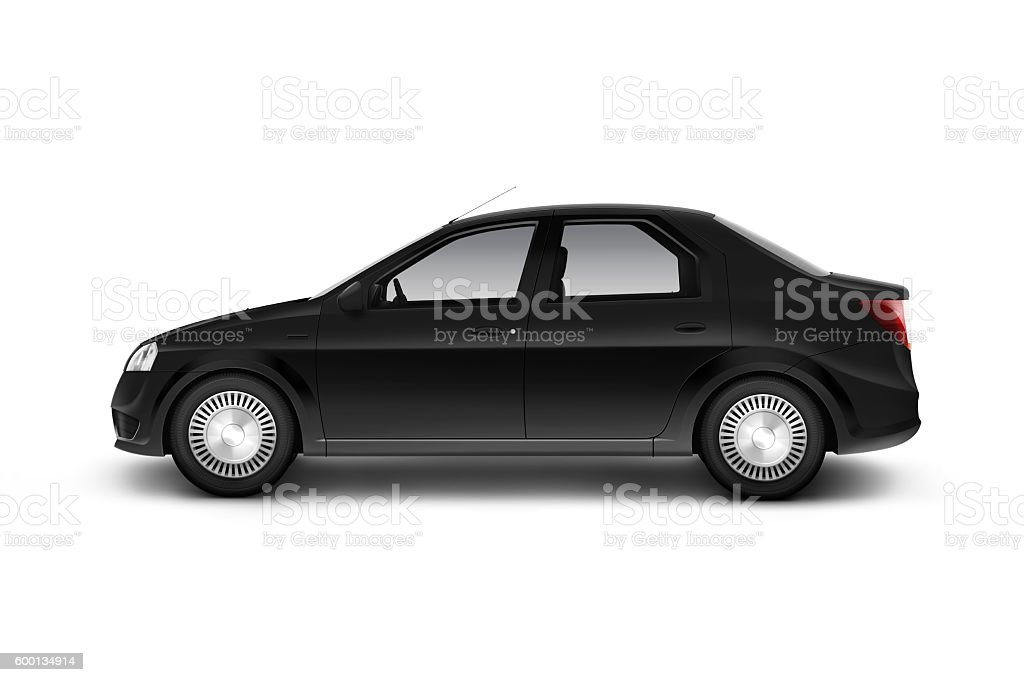 Blank black car design mockup, isolated, side view, clipping path, stock photo