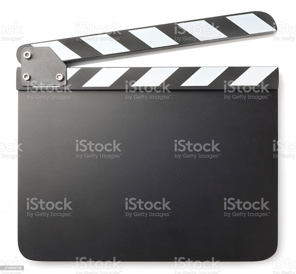 Blank black clapperboard on a white background stock photo