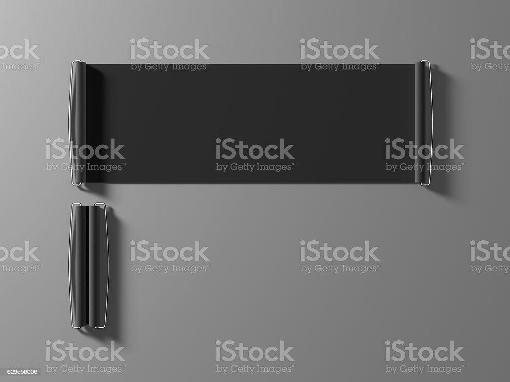 Blank black hand held banner mockup stock photo