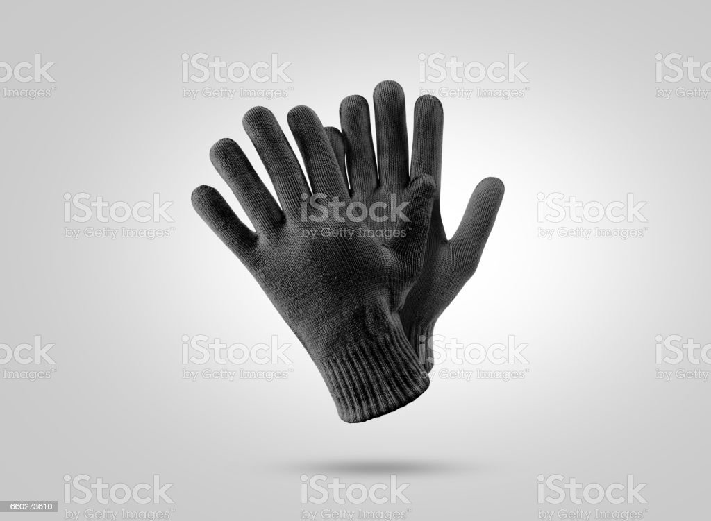 Blank black knitted winter gloves mockup stock photo