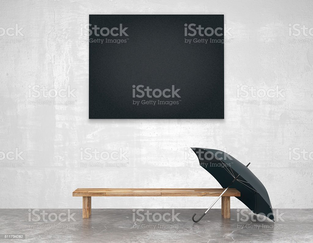 Blank black picture above wooden bench stock photo