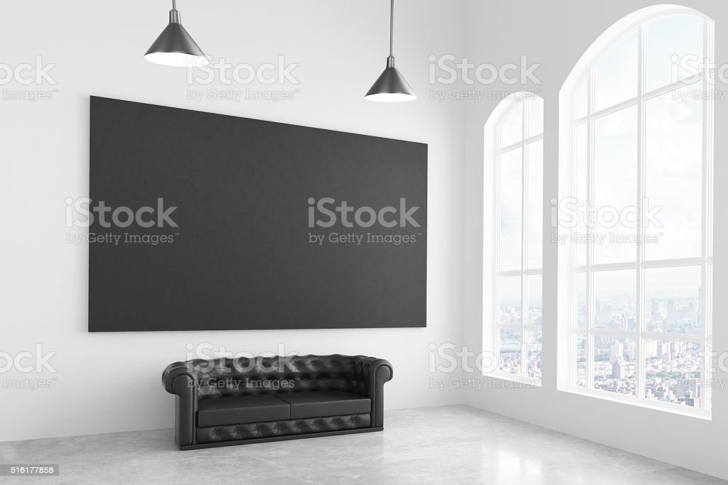 Blank black picture stock photo