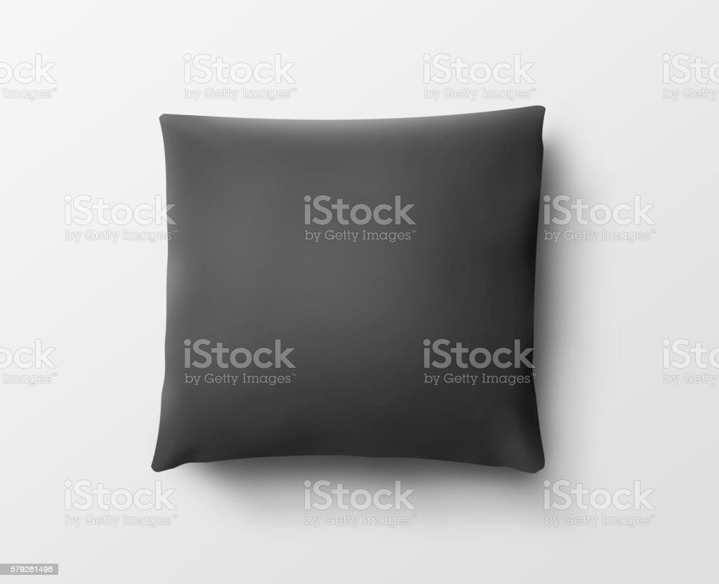 Blank black pillow case design mockup, isolated, clipping path, 3d stock photo