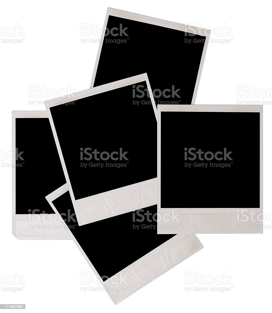 Blank black Polaroid frames stacked on top each other stock photo