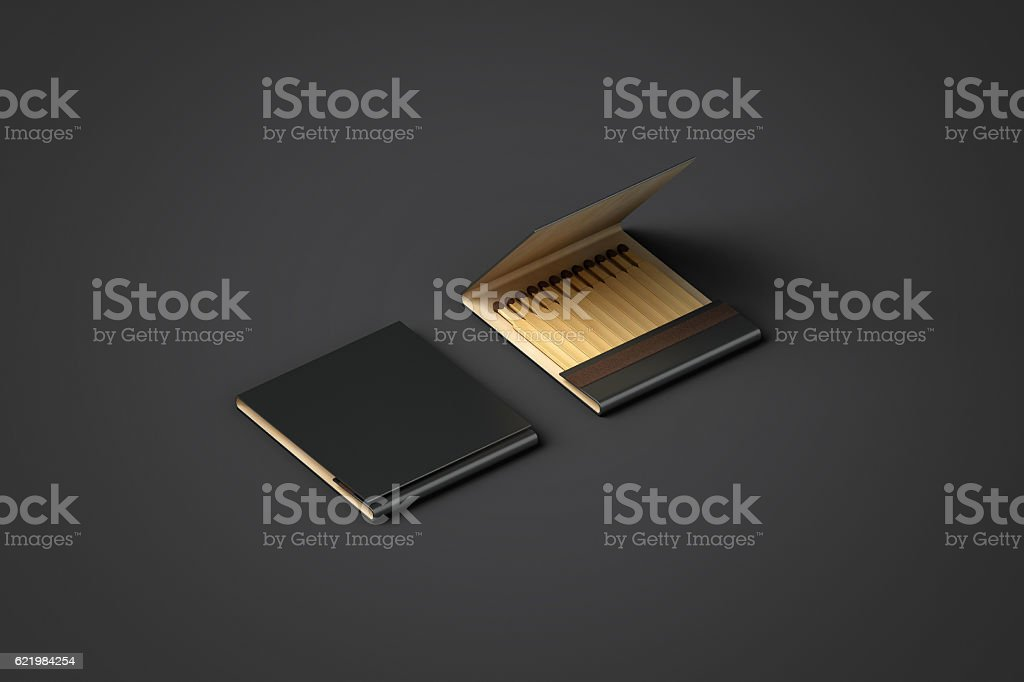 Blank black promo matches book mock up, clipping path stock photo