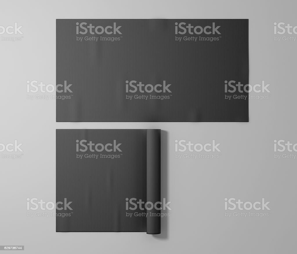 Blank black rubber sport mat mockup, isolated stock photo