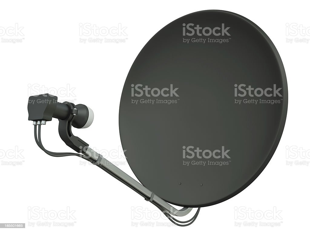Blank black satellite dish isolated on a white background royalty-free stock photo