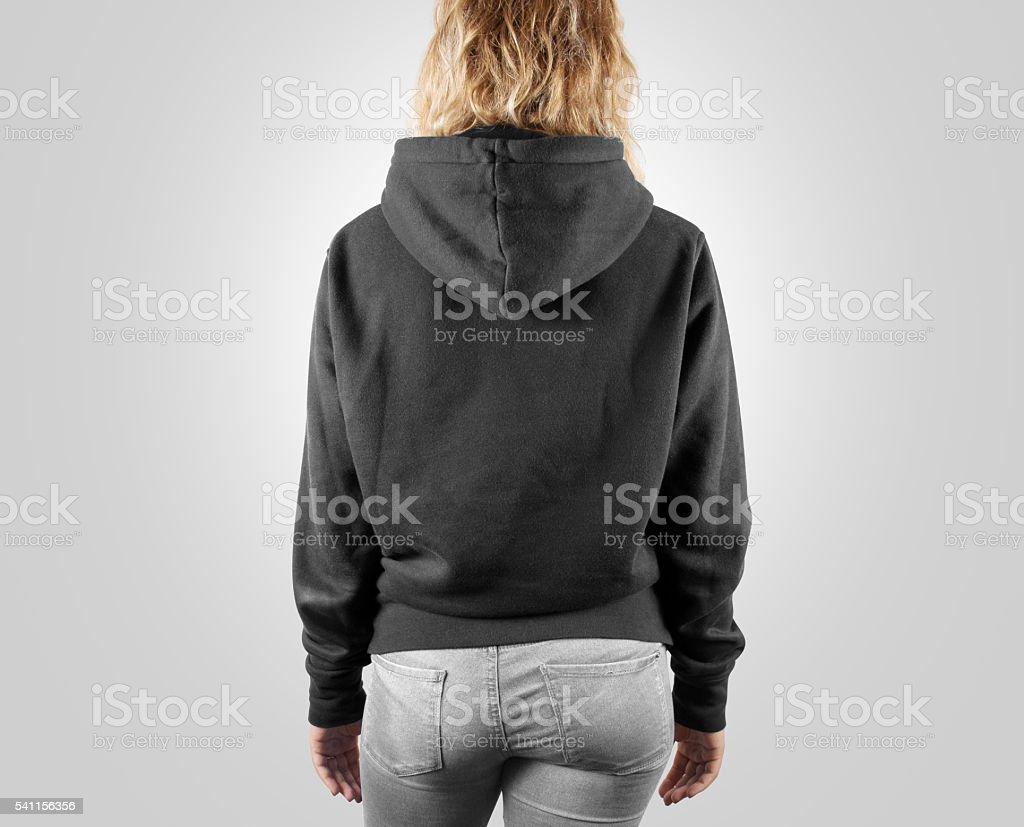 Blank black sweatshirt mock up back side view, isolated. stock photo