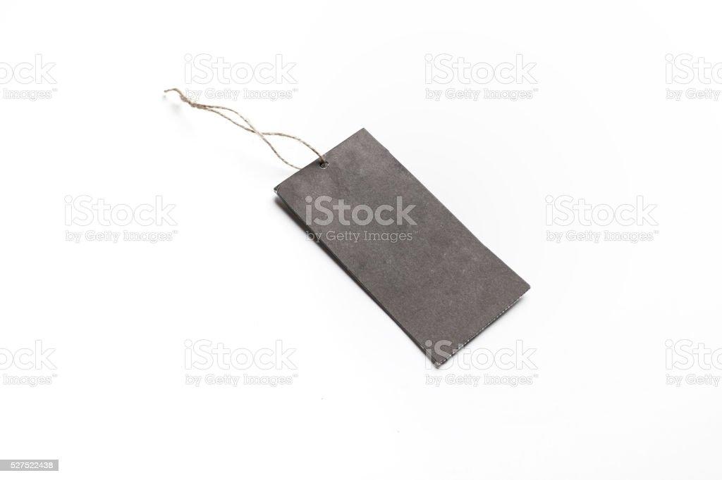 Blank Black tag isolated on white background stock photo