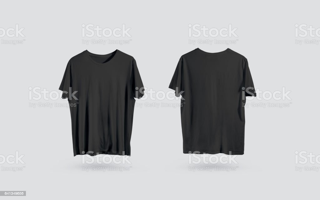 Blank Black Tshirt Front And Back Side View Design Mockup stock ...