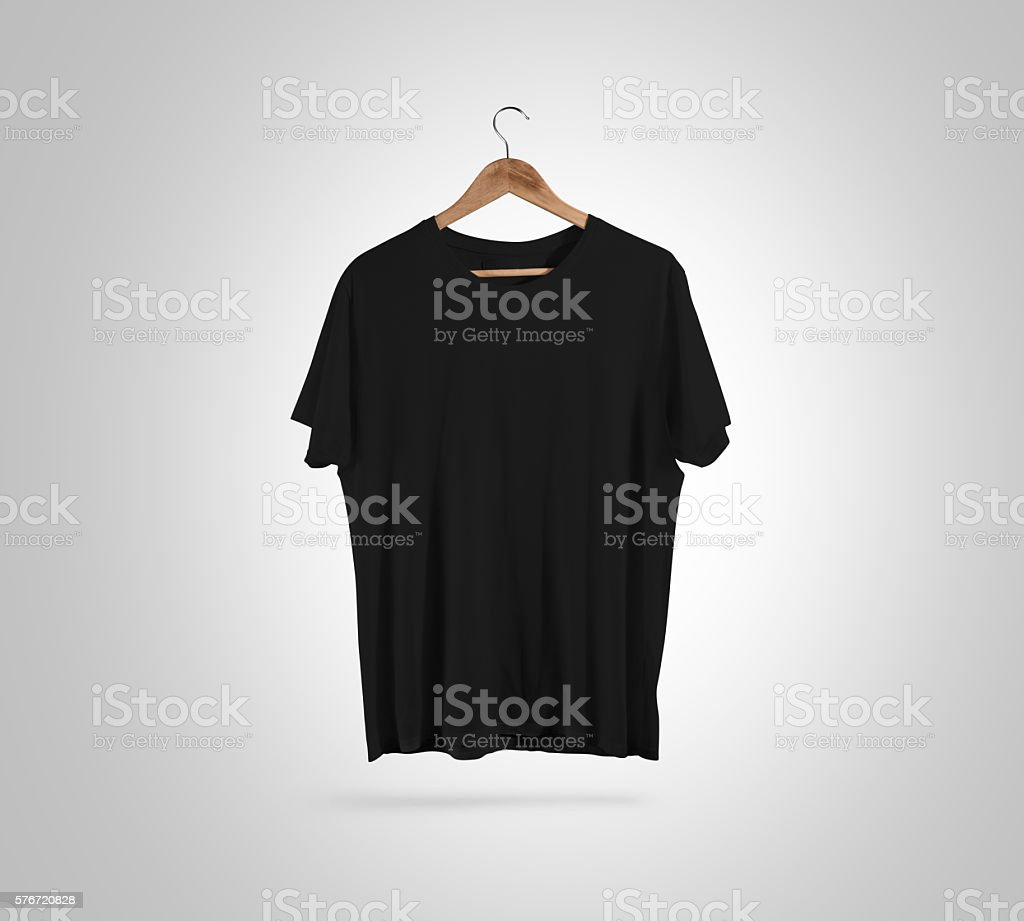 Blank black t-shirt front on hanger, design mockup, clipping stock photo