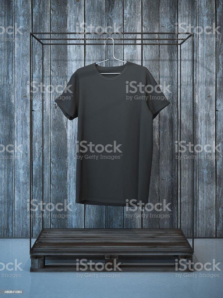 Blank black t-shirt on hanger. 3d rendering stock photo