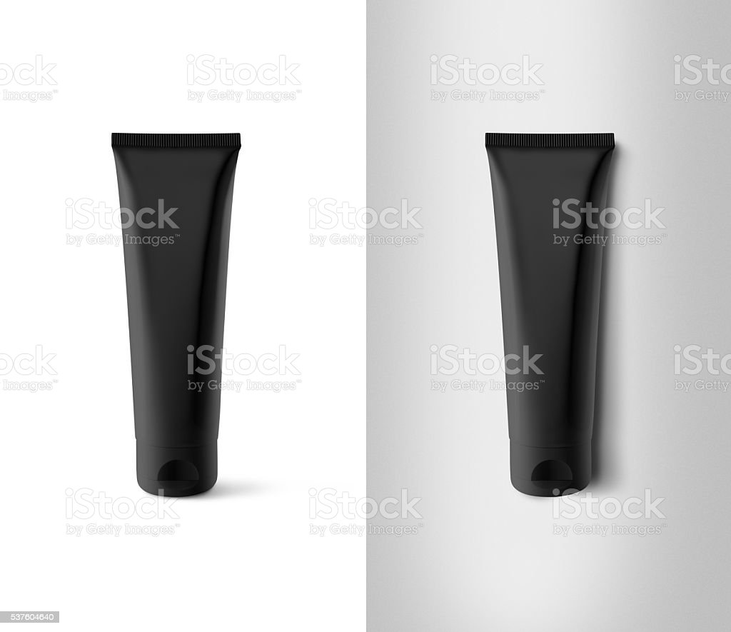 Blank black tube design mockup set, isolated, clipping path. stock photo