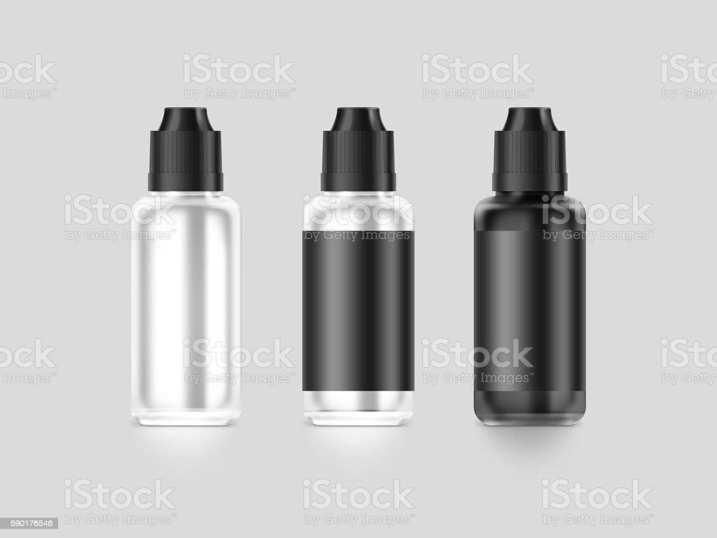 Blank black vape liquid bottle mockup isolated, clipping path, stock photo