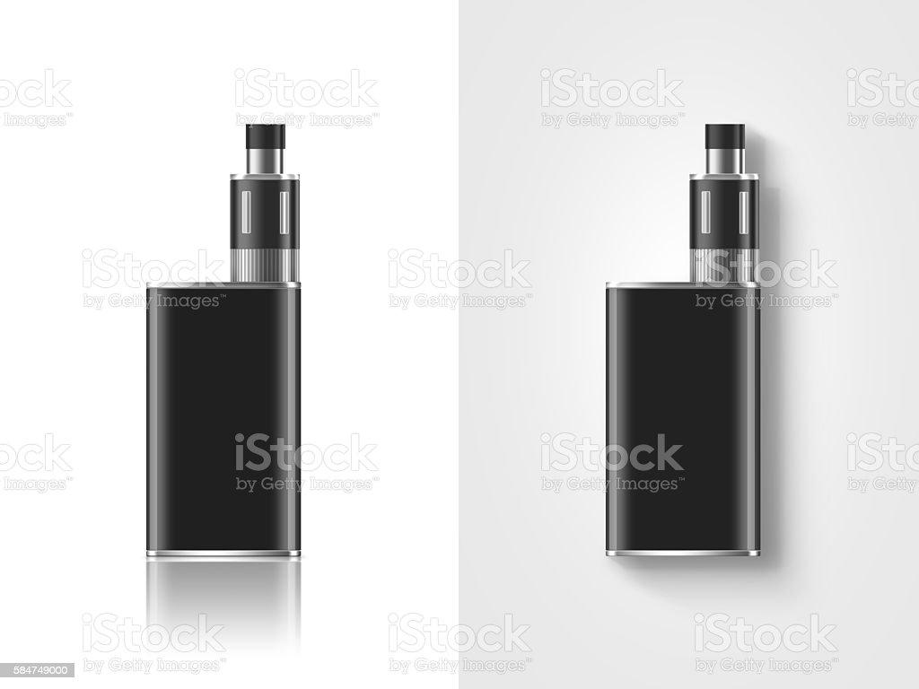 Blank black vape mod box mockup isolated, clipping path, stock photo