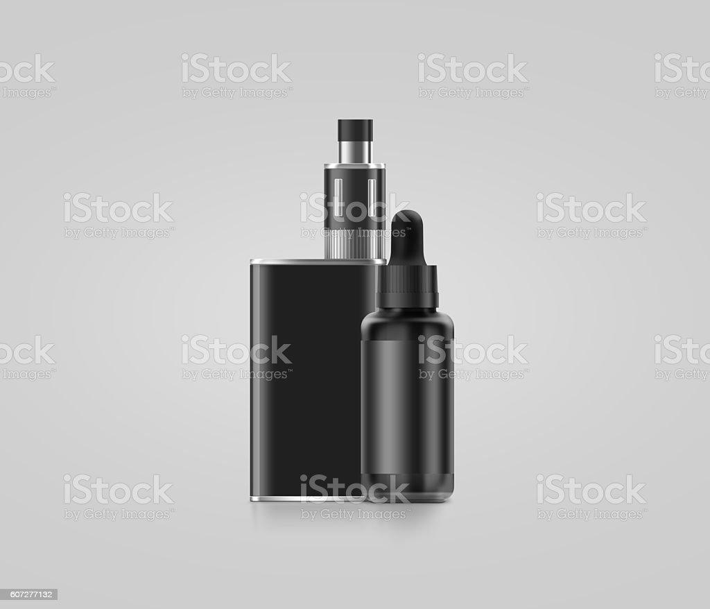 Blank black vape mod box with juice bottle mockup isolated, stock photo