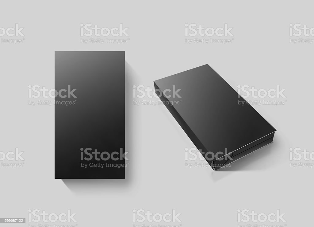 Blank black video cassette tape box mockup set, isolated stock photo