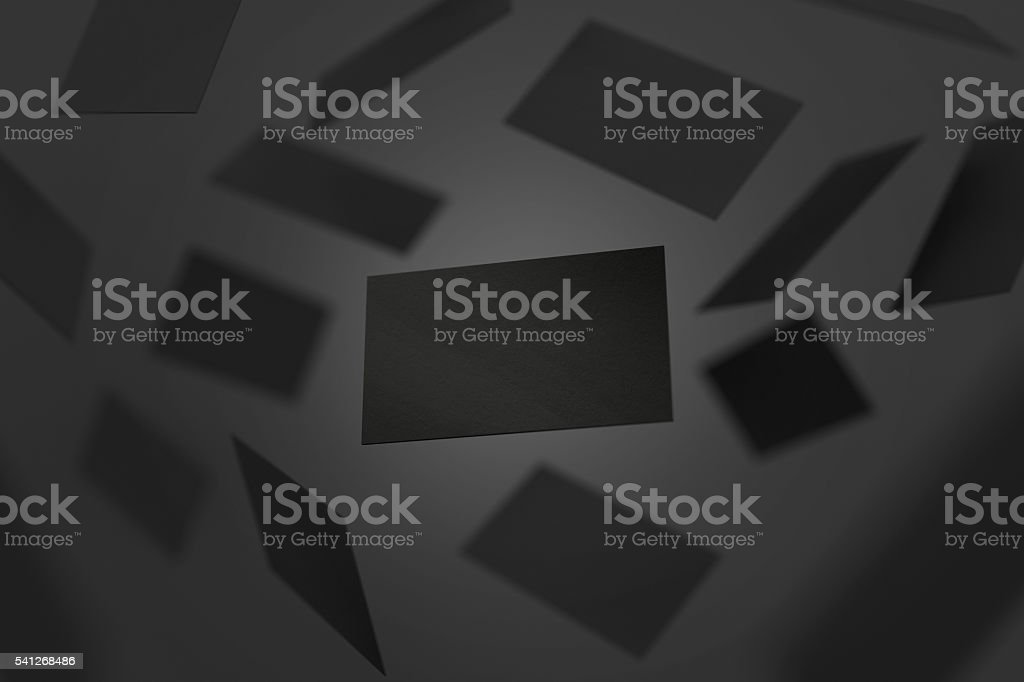 Blank black visiting cards falling, 3d rendering stock photo