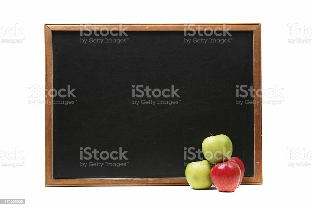 Blank blackboard and apple stack royalty-free stock photo