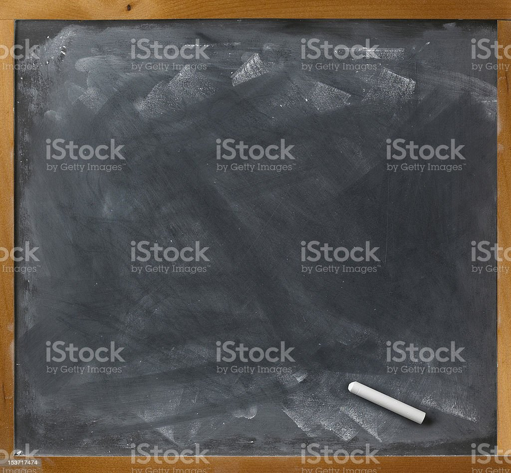 blank blackboard and chalk straight on royalty-free stock photo