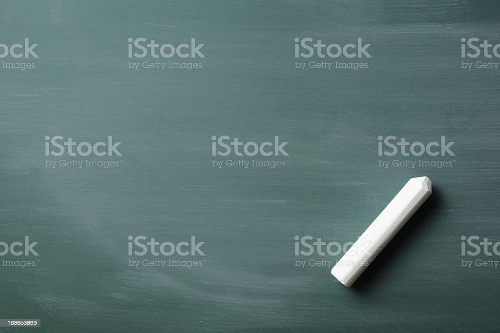 Blank blackboard and chalk with copy space stock photo