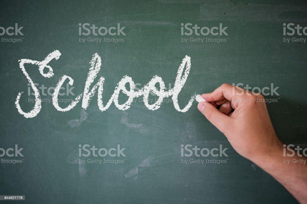 Blank blackboard / chalkboard, hand writing on green chalk board...