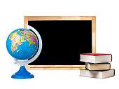 Blank blackboard globe stack books isolated