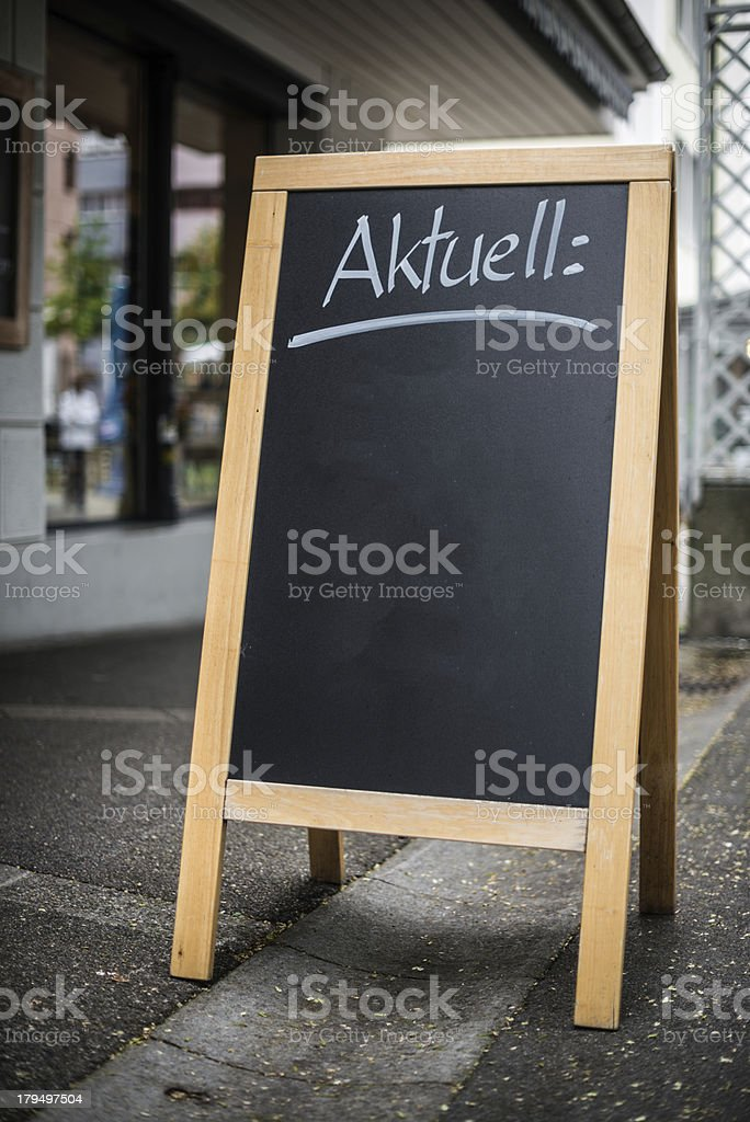 blank blackboard message sign in the street stock photo