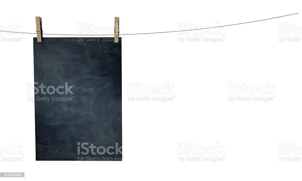 Blank blackboard  poster mock up stock photo