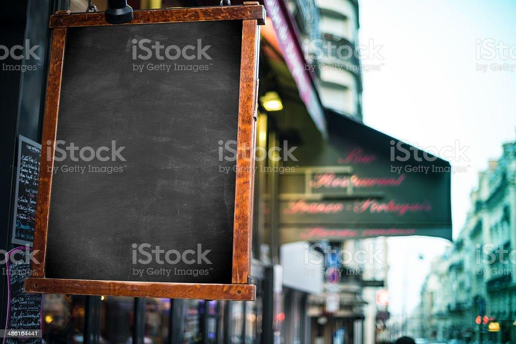 blank blackboard sign stock photo
