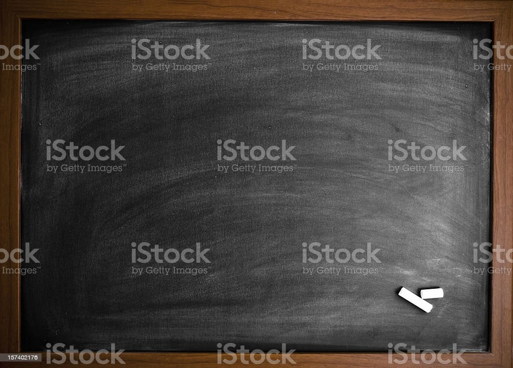 Blank blackboard with chalk royalty-free stock photo
