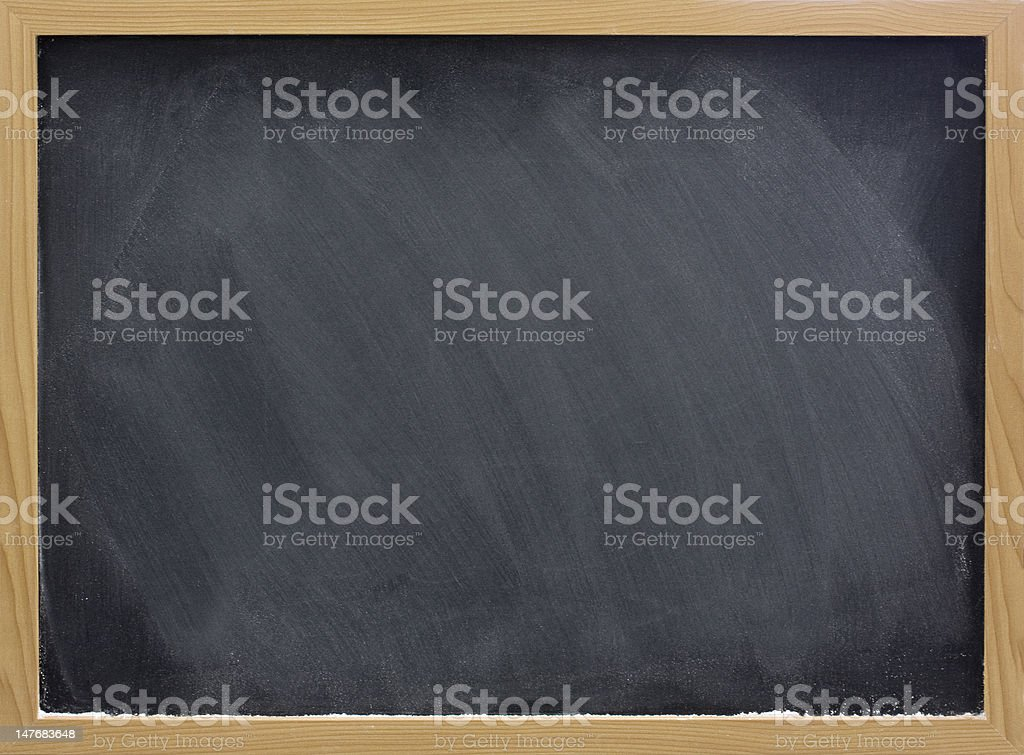 blank blackboard with white chalk dust and smudges royalty-free stock photo