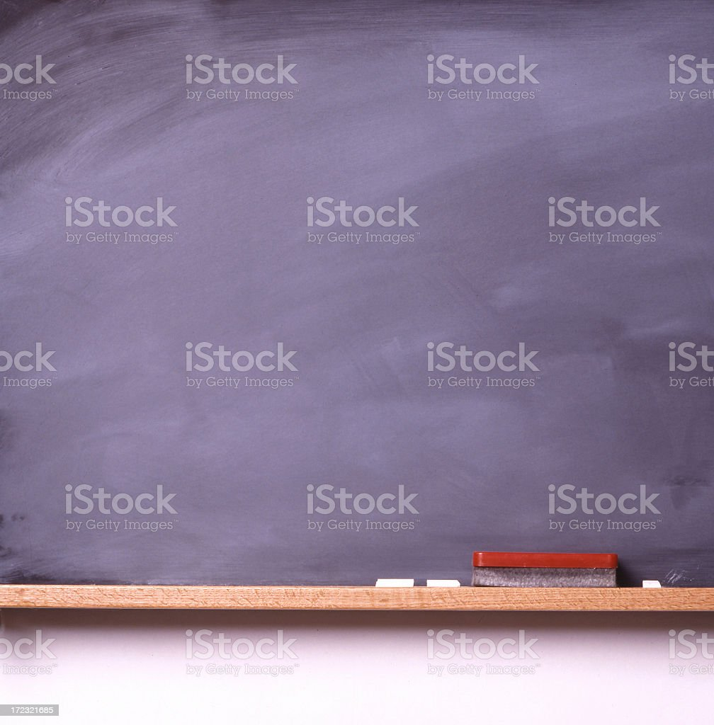 Blank blackboard with white chalks and eraser royalty-free stock photo
