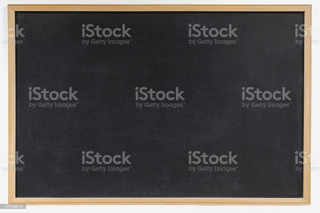 Blank blackboard with wooden frame background royalty-free stock photo