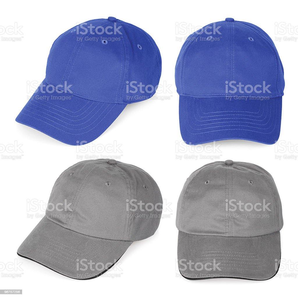 Blank blue and gray baseball caps stock photo