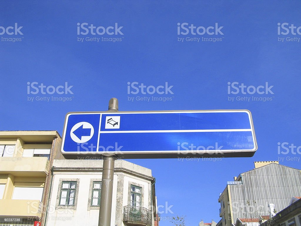 Blank blue hotel sign stock photo