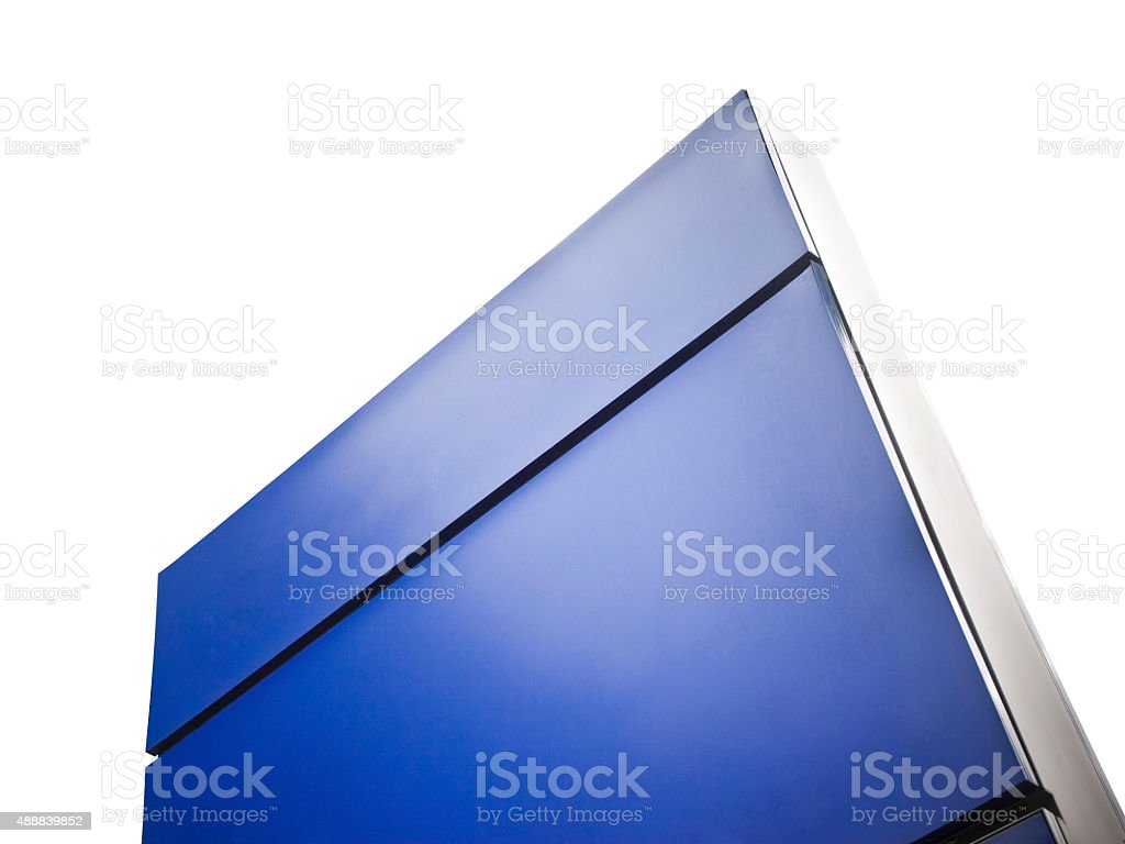 Blank blue information Sign on white background stock photo