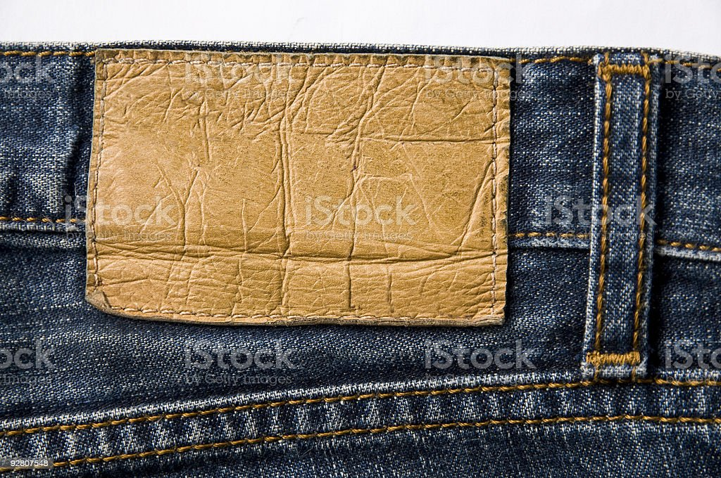 A blank blue jeans leather label stock photo