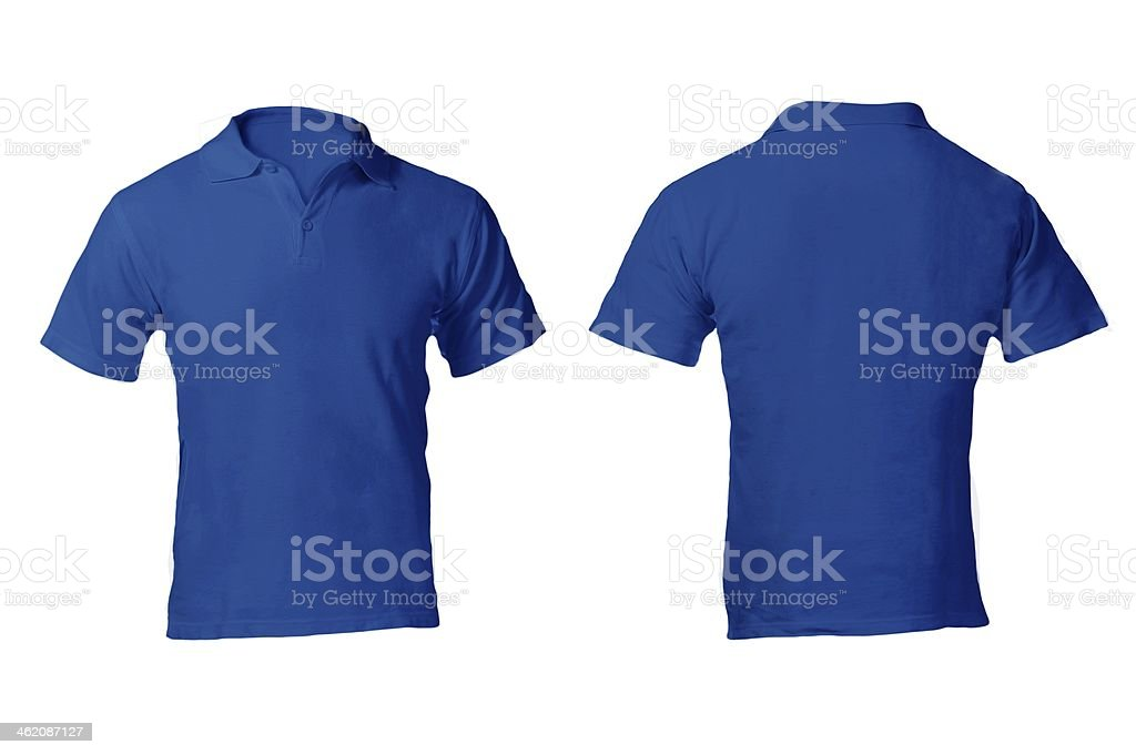 Blank blue polo shirt template on white background stock photo