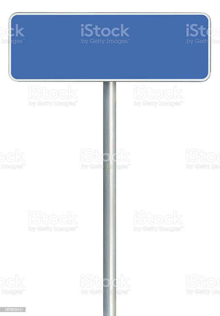 Blank Blue Road Sign Isolated, White Frame Framed Roadside Signage stock photo