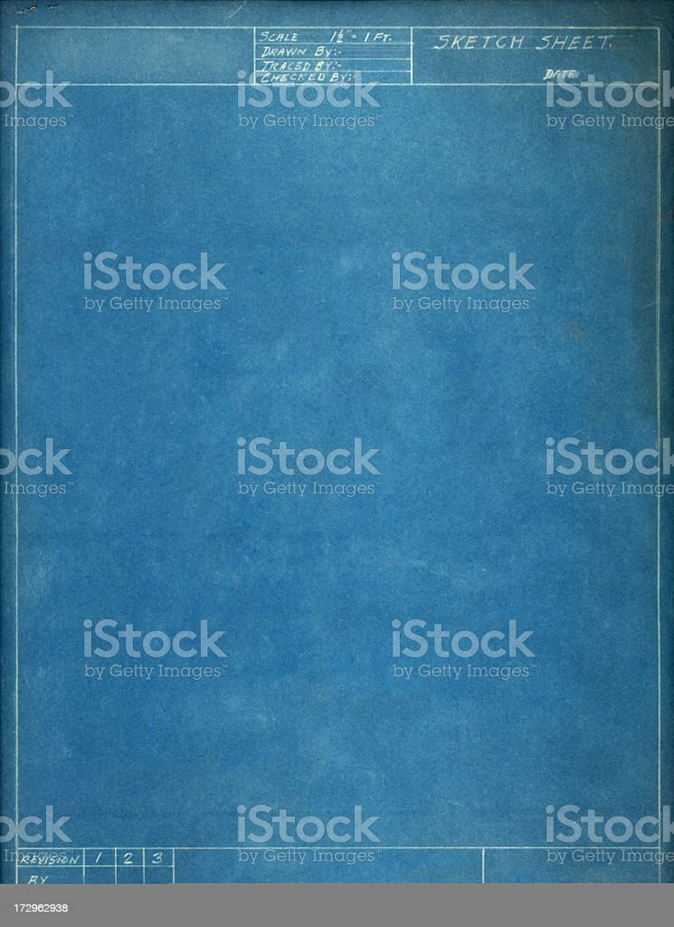 Blank blue sketch sheet on white background stock photo