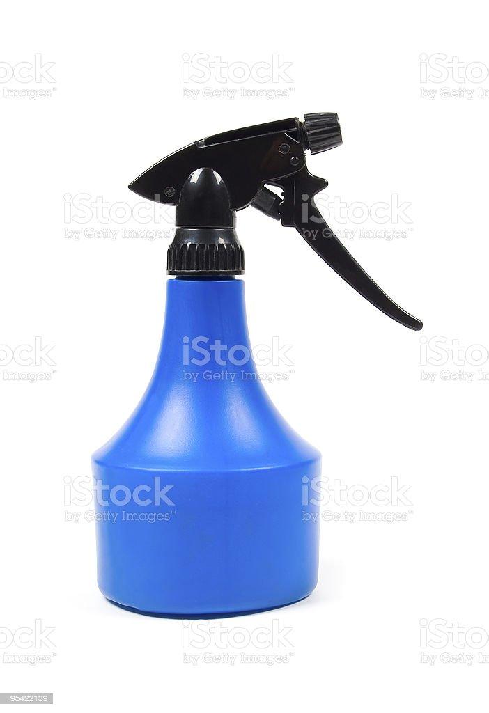 Blank blue spray bottle royalty-free stock photo