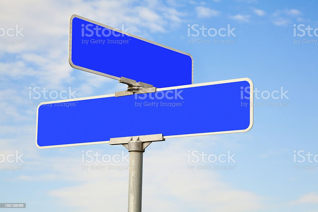 Blank Blue Street Intersection Sign stock photo