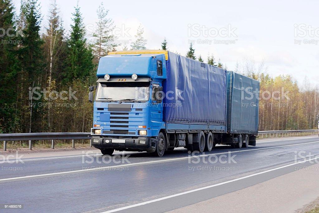 Blank blue tractor trailer truck of 'Trucks' series stock photo