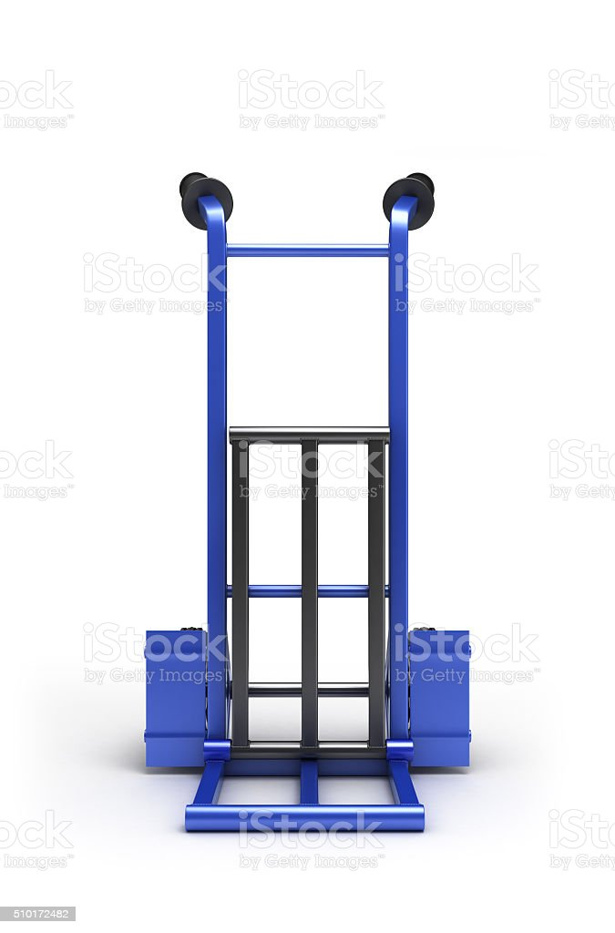 blank blue two-wheeled hand truck for transporting heavy loads, stock photo