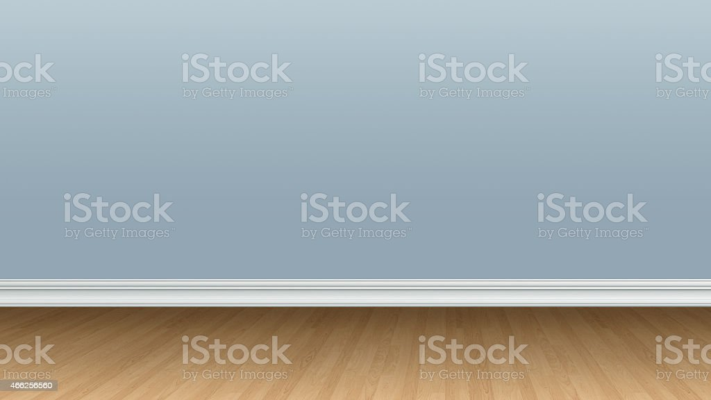 Blank Blue Wall and Wooden Floor stock photo