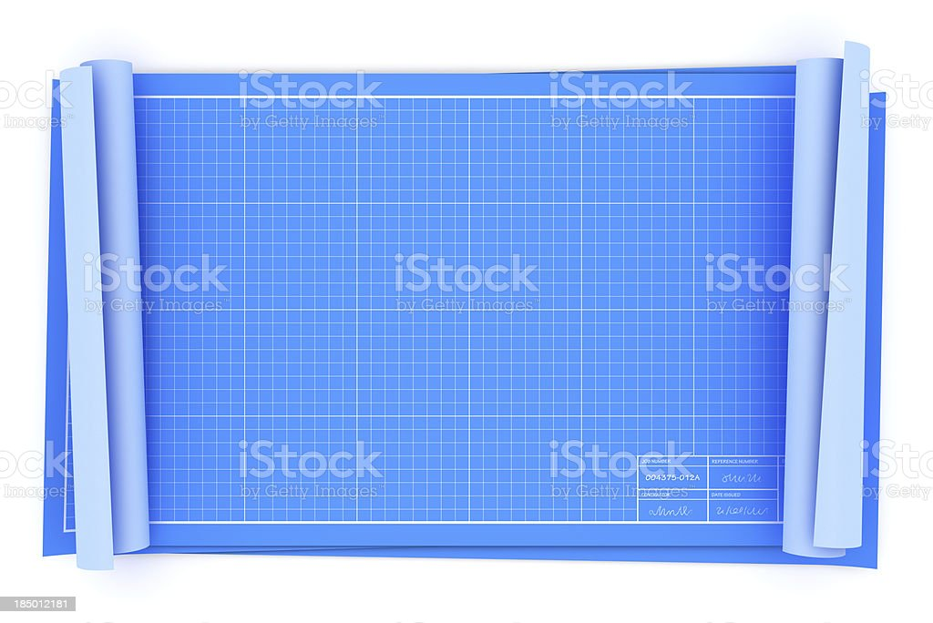 Blank blueprints overhead view royalty-free stock photo